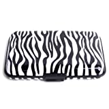 HDE Aluminum Travel Wallet Credit Card Case with RFID Blocking Protection (Zebra Print)