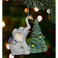 Lucky Elephant Figurine Christmas Decoration Luckyphant Decorating the Tree with Star Treetopper Collectible Keepsake - Gift for Elephant Lovers - Resin 3 Inch