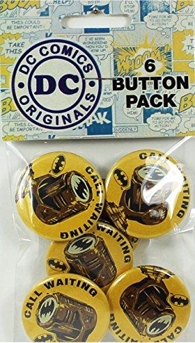 """Button set DC Comics Batman Bat Signal 6 Individual Loose Buttons, 1.25"""" - 1"""