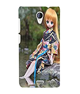 Fuson 3D Printed Cute Doll Designer Back Case Cover for Micromax Unite 2 A106 - D724