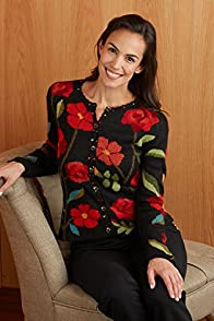 Tey-Art Roses Intarsia Alpaca Fair Trade Cardigan