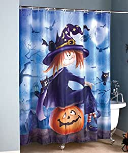 Halloween Witch Sitting On Pumpkin Bathroom Shower Curtain Haunted House Bath Decor