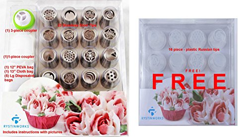 48 Piece Set Rystinworks Russian Piping Pastry Tips - Stainless Steel - Instructions - 1 3-piece Coupler, 1 Coupler, 1 Cloth Bag, 1 PEVA Bag, 5 Disposable Bags, 16 plastic tip set is FREE (Plastic Bag Dispenser Cloth compare prices)