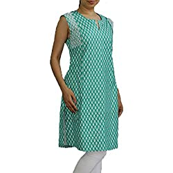 Green & White Handwoven Khadi embroidery detail Designer Kurta