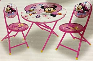 Amazon Com Disney Minnie Mouse Folding Table And Chairs