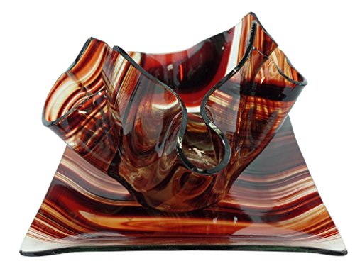 West End Studios Decorative Glass Candle Holder with Tray (Burgundy and Clear Small)