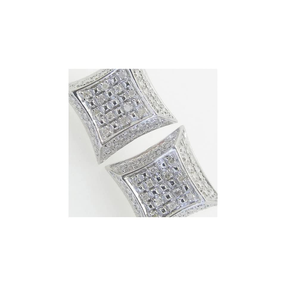 Mens 925 Sterling Silver earrings fancy stud hoops huggie ball fashion dangle white small outline curved square pave earrings