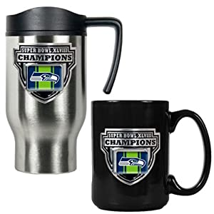 NFL Seattle Seahawks Super Bowl Champ 16-Ounce Travel Mug and 15-Ounce Ceramic Mug... by Great American Products