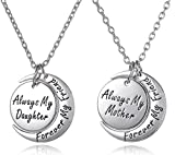 Set of 2 Always My Daughter Forever my Friend/Always my Mother Forever my Friend Inscribed Silver Tone Matching Necklace Gift Set