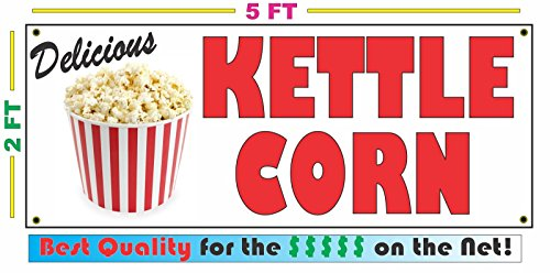 Delicious KETTLE CORN All Weather Full Color Banner Sign (Kettle Corns compare prices)