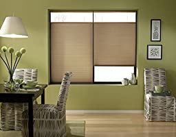 Custom Top Down Bottom Up Cordless Cell Shades, 20W x 36H, Antique Linen