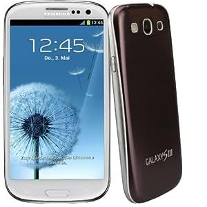 xubix Full Metal Akkudeckel für Samsung i9300 Galaxy S3 Kaffe Coffee brushed Metall Aluminium mit dezent weißem Rand