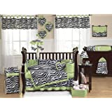 Lime Green and Funky Zebra Animal Print Baby Girl Bedding 9pc Crib Set by Sweet Jojo Designs