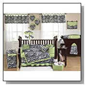 Lime Green and Funky Zebra Animal Print Baby Girl Bedding