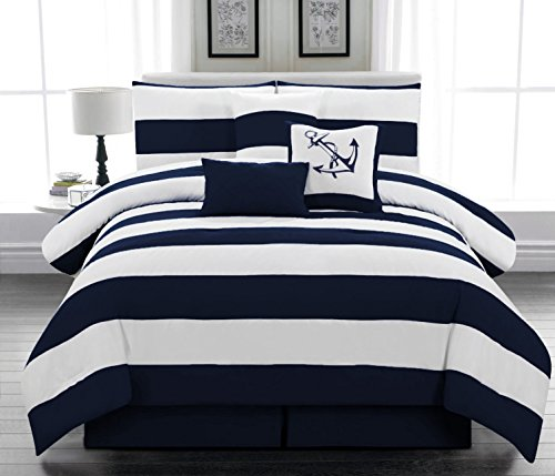 7pc. Microfiber Nautical Themed Comforter Set, Navy Blue and White Striped, Queen...
