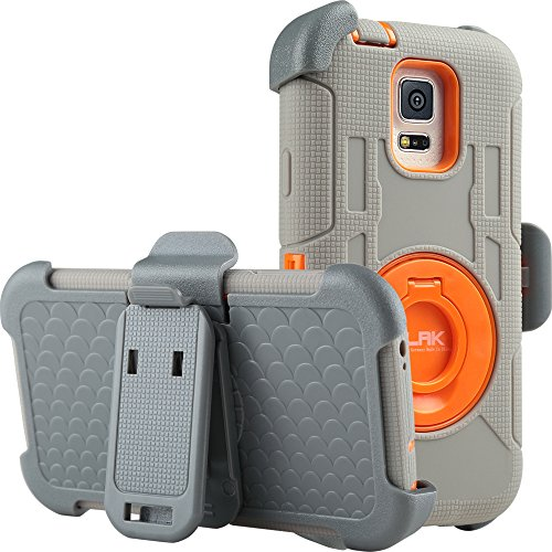 Galaxy S5 Case,ULAK Heavy Duty Knox Armor Shockproof Hybrid 3-Layer Protection Holster Case for Samsung Galaxy S5 with Rotating Ring Kickstand and Belt Swivel Clip-[Orange/Gray] (Samsung S5 Mini Case For Men compare prices)