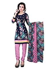 Surat Tex Blue & Pink Color Casual Wear Printed Cotton Un-Stitched Salwar Suit-E526DL2016KK