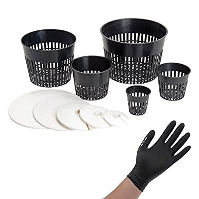 VARIOUS SIZES NET CUP POTS HYDROPONIC SYSTEM GROW KIT COVER LID + THCity GLOVES