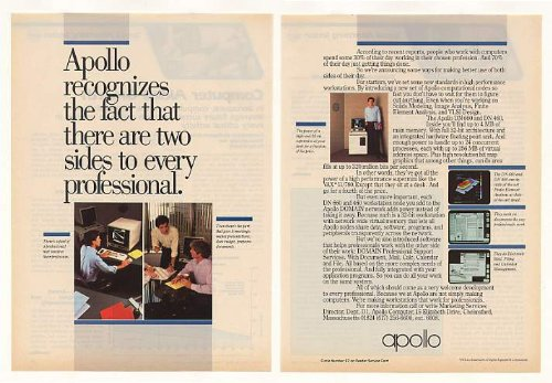 Picture of Comfortable 1983 Apollo DN 660 DN 460 Computer Workstations 2-Page Print Ad (42088) (B002CHNA1K) (Computer Workstations)