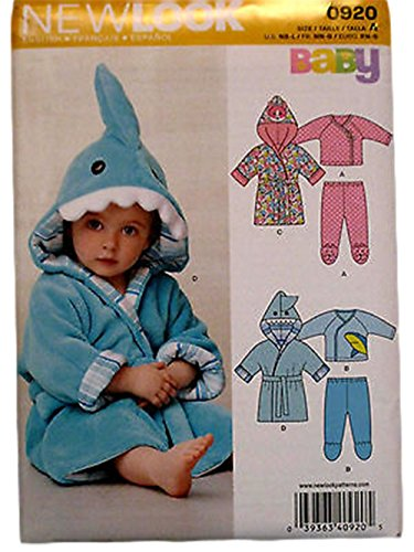 New Look Pattern 0920 Infant & Toddler pajamas and bathrobe size A 7-24 lbs.