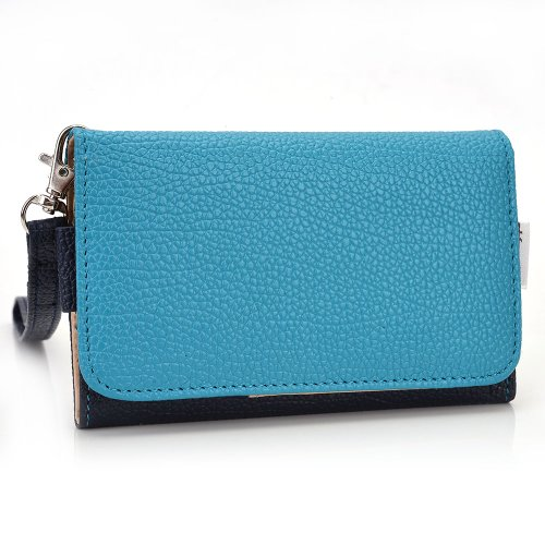 Exxist® Women's Universal Wristlet Faux Leather Phone Wallet Case with Card Slots Fits Samsung I9000 Galaxy S | I9003 Galaxy SL | I9010 Galaxy S Giorgio Armani | I9070 Galaxy S Advance (Blue Advance Forros compare prices)