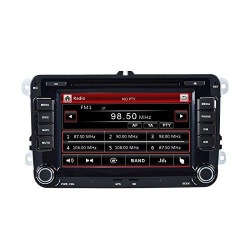 """henhaoro G7202C - AutoRadio 7"""" (17,78 cm), da cruscotto, 2din, lettore DVD, supporto per sistema di navigazione GPS per VW Jetta Golf Passat Polo EOS, sistema Subwoofer Radio FM/AM"""