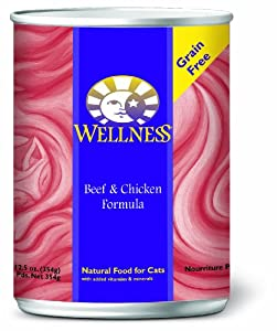 Wellness Canned Cat Food, Beef and Chicken Recipe, 12-Pack of 12-1/2-Ounce Cans