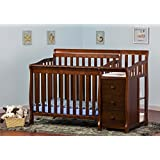 Dream On Me Jayden 4 in 1 Convertible Portable Crib with Changer, Espresso