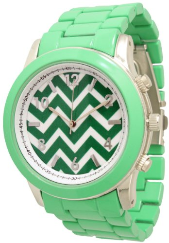 Ladies Geneva Boyfriend Chevron Style Link Watch - Mint Green