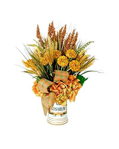 Creative Displays Harvest Floral with Heather & Wheat with Plaid Ribbon & Rust Hydrangeas in...