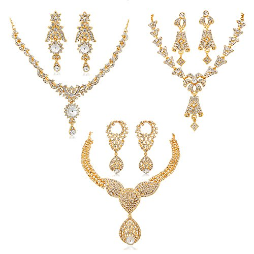 REEVA GOLD COMBO NECKLACE SET WITH AUSTRIAN DIAMOND AND STUDDED STONE