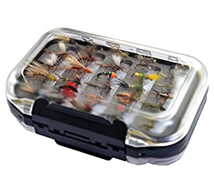 Go-to Dry Fly, Wet Fly, Nymph and Streamer Fly Lure Assotment + Waterproof Fly Box for Trout Fly Fishing Flies by Outdoor Planet