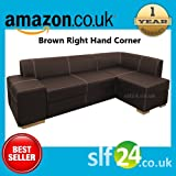 NEW Chamber Corner Sofa Bed with Storage - Black, Brown or Red Faux Leather (Brown Right Hand Corner)
