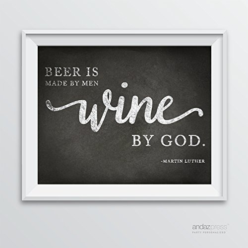 Andaz Press Wine Wall Art Decor Sign, Vintage Chalkboard Style Poster, Beer is Made By Men, Wine by God, Martin Luther Quote, 1-Pack, Mother's or Father's Day Gift - Beer Print - Craft Beer - Wine Beer Wall Decor - Man Cave Art - Fun Wine Beer Art - Happy Beer Art (Wine Cave compare prices)