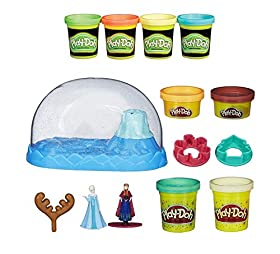 Play-Doh Disney Frozen Sparkle Snow Dome Set with Elsa and Anna + Play-Doh Glow in the Dark Dough 4pk (8 Oz Total) - Bundle of 2 Items