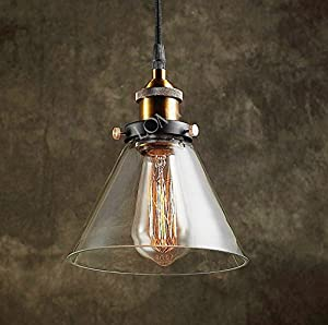 Modern Vintage Industrial Metal Loft Glass Cone Ceiling Lamp Shade Pendant Light 2015 Edition by LOMT