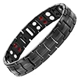 Willis Judd Mens New Four Element All Black Titanium Double Row Magnetic Bracelet In Black Velvet Gift Box + Free Link Removal Tool