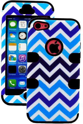 Mylife (Tm) Black + Blue And White Chevron 3 Layer (Hybrid Flex Gel) Grip Case For New Apple Iphone 5C Touch Phone (External 2 Piece Full Body Defender Armor Rubberized Shell + Internal Gel Fit Silicone Flex Protector + Lifetime Waranty + Sealed Inside My