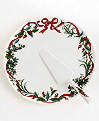 Martha Stewart Holiday Garden Christmas Cake Tray &amp; Serving Knife Set