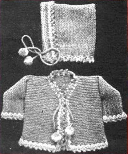 Vintage Children'S Knitted Set - Jacket And Hood. Knitting Pattern front-104439