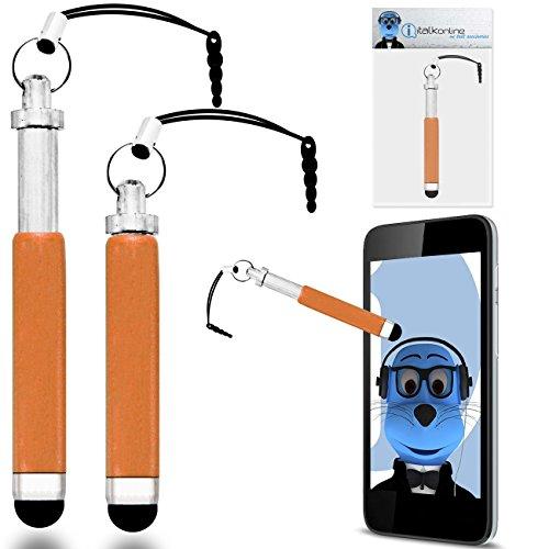iTALKonline Samsung Galaxy Tab 2 7.0 P3110 Orange Premium VERSENKBARE MINI Captive Touch Tip Stylus Pen mit Gummi Tip und 3,5 mm Headset-Buchse Dangley Adapter
