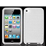 White Mesh Silicone Rubber Gel Soft Skin Case Cover New for Apple Ipod Touch iTouch 4th Generation Gen 4g 4 8gb 32gb 64gb - Electromaster(TM) Brand