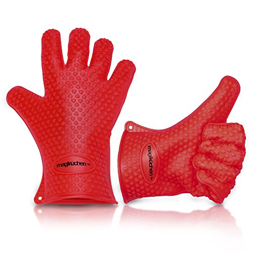 High Quality Cooking Gloves Heat Resistant Silicone Set for Using as Pot holders - Oven Mitts - Smoking and BBQ Grilling Gloves from Magiküchen - Best Kitchen Accessories.