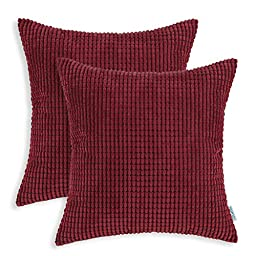 CaliTime Throw Pillow Covers 18 X 18 Inches, Comfortable Soft Corduroy Corn Striped, Burgundy, Pack of 2