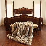 """Best Home Fashion Kitt Fox Faux Fur Lounge Throw Blanket 58"""" x 60"""" - TR"""