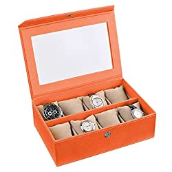 Ecoleatherette Handcrafted Eco Friendly 8 Watch Box, Watch Case, Watch Organizer (Brunt Orange)