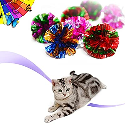 CreaTion® 10 Pack Colourful Mylar Ball Toys For Cat Catching / Chasing -- 5CM / 2 Inch Diameter