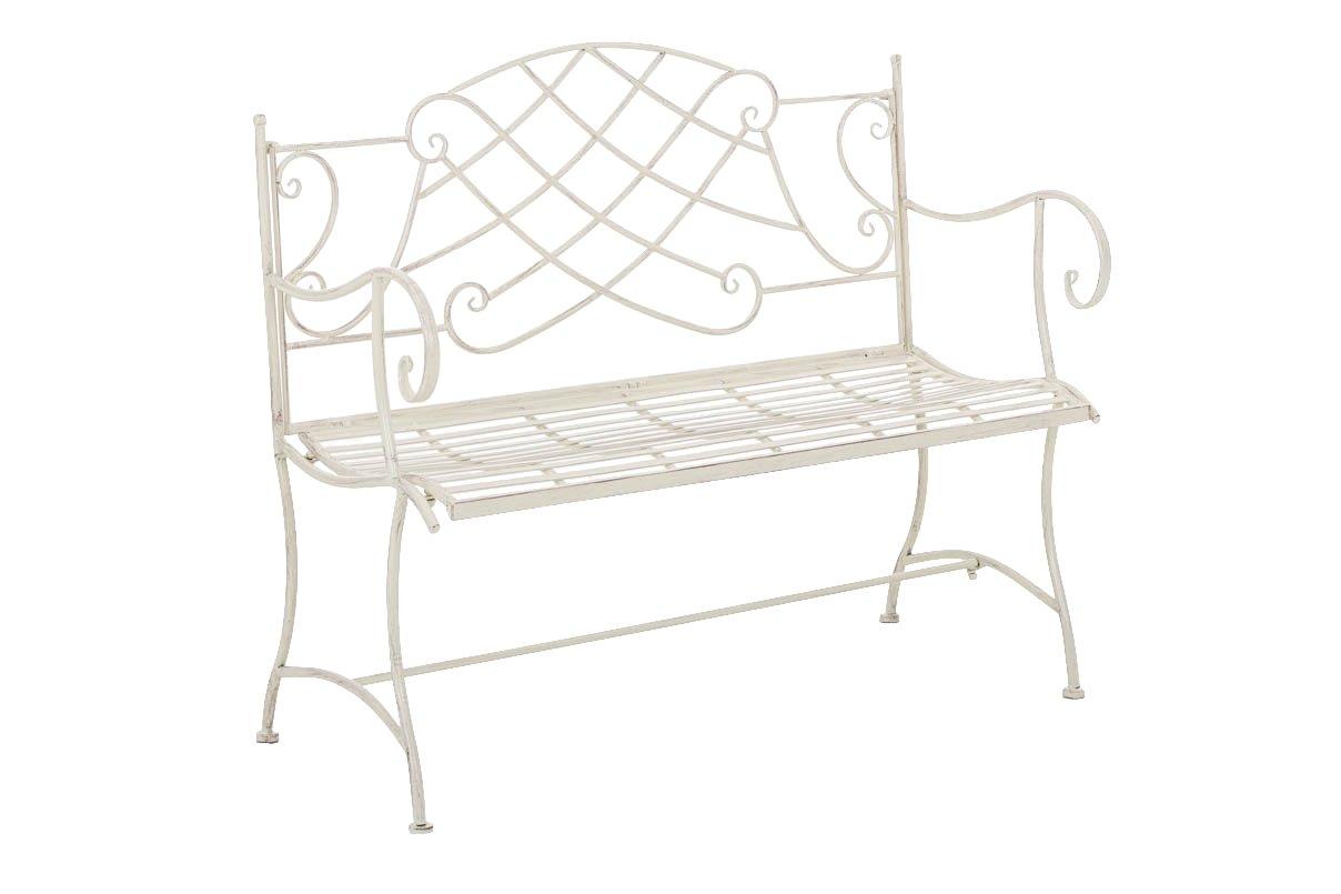 CLP Gartenbank SELENA im Landhausstil, aus lackiertem Eisen, 109 x 43 cm - aus bis zu 6 Farben wählen antik creme