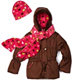 Pink Platinum Girls 4-6x Solid Puffer with Heart Printed Lining Outerwear