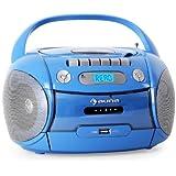 Auna Boomboy mobiler MP3-CD-Player Kassettenplayer Stereolautsprecher Ghettoblaster (USB-Slot, UKW-Radio, Netz- und Batterie-Betrieb) blau